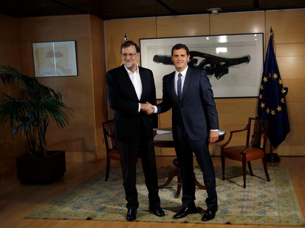 Rajoy y Rivera, durante su reunión de este miércoles