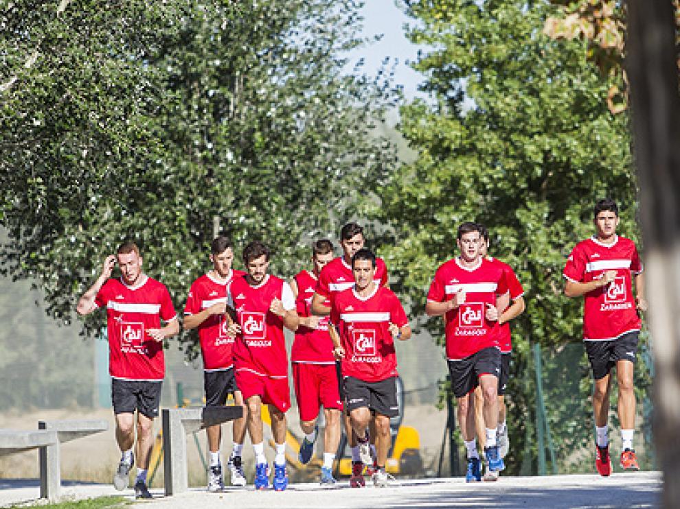 Los jugadores del CAI Zaragoza, durante la pasada pretemporada