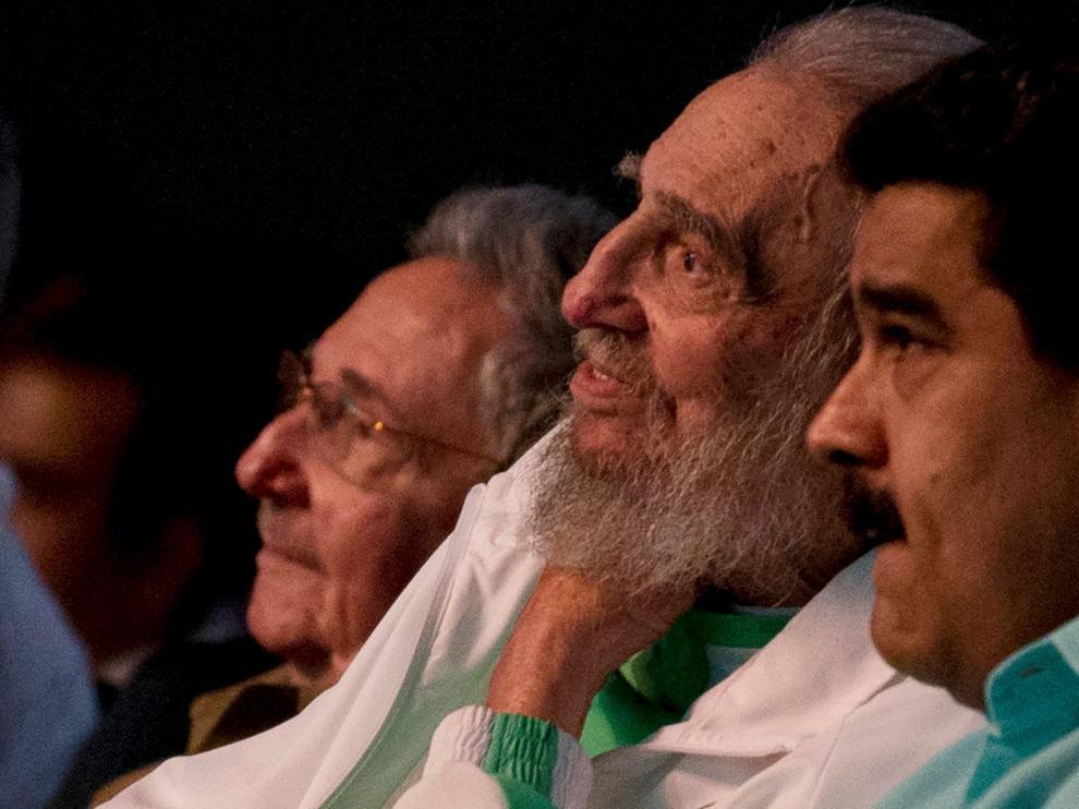 Fidel Castro, con Maduro en la celebración de su 90 cumpleaños, este 13 de agosto.