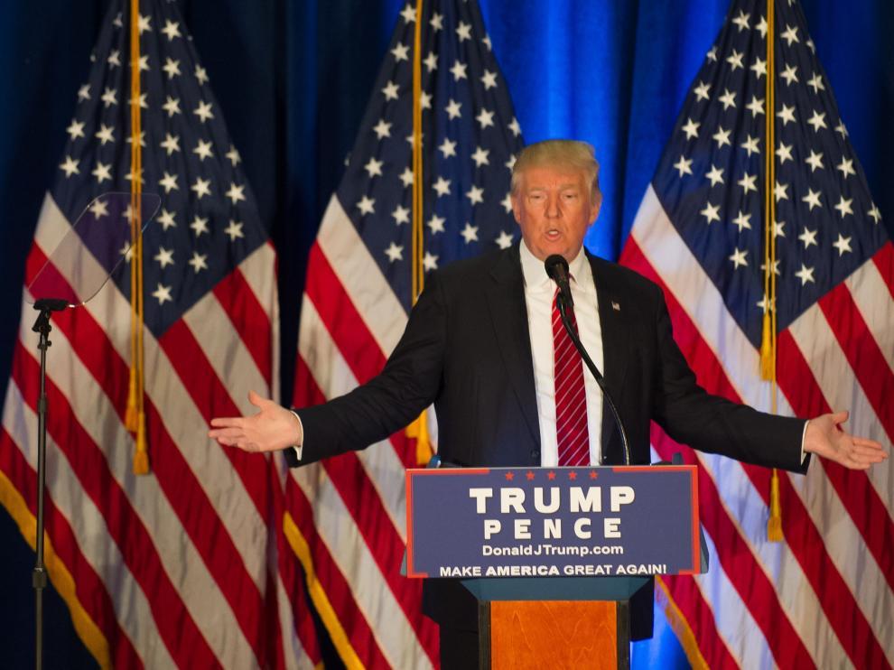 El candidato republicano Donald Trum, durante su discurso