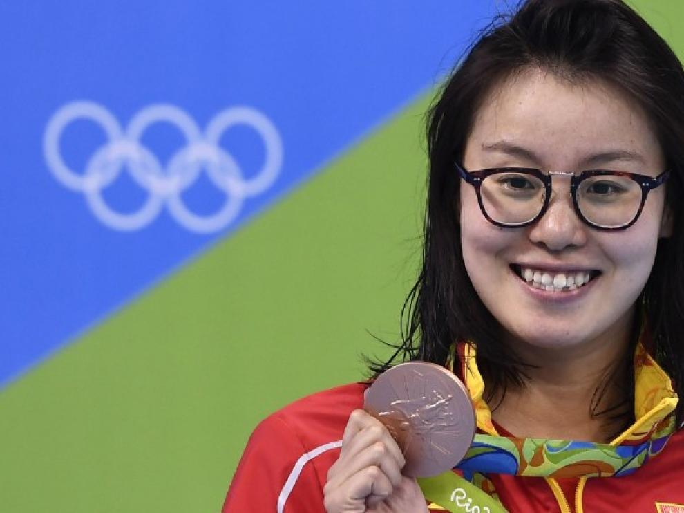 Fu Yuanhui en los Juegos Olímpicos de Río 2016.