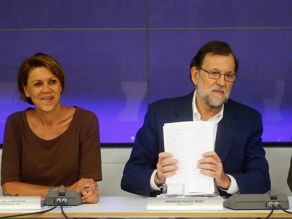 Rajoy, Dolores de Cospedal y Martínez Maillo durante el Comité Ejecutivo Nacional del PP.