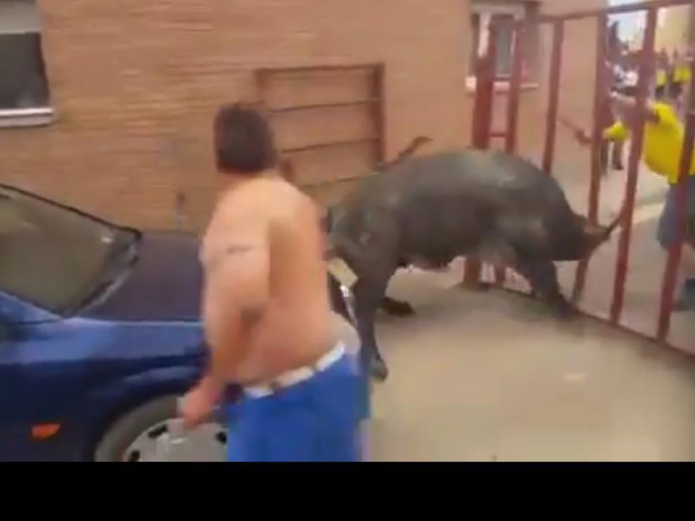 Momentos de máxima tensión. En esta captura de un vídeo se puede ver el pánico que causó el novillo tras haber abierto la puerta de la barrera y cornear a la niña.
