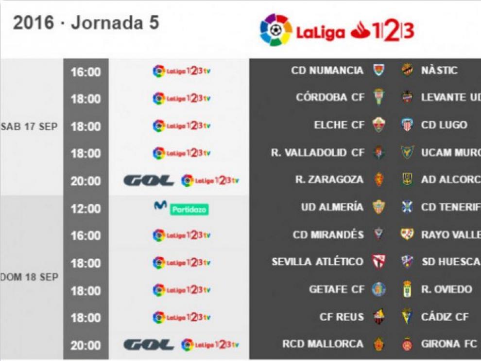 Horarios de la 5ª jornada de Segunda División.