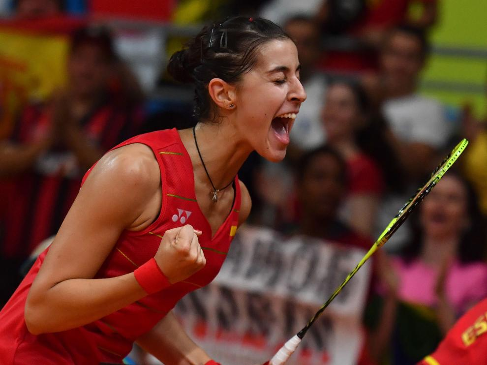 Carolina Marín, tras pasar a la final de Bádminton.