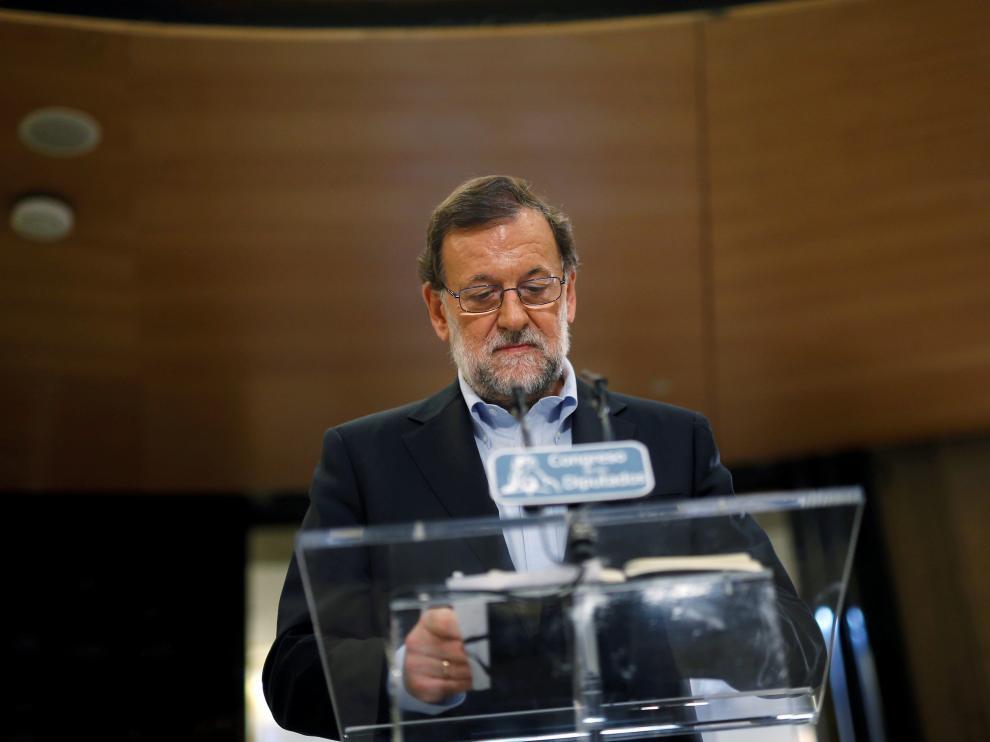 Rajoy, tras una de sus reuniones con Rivera.