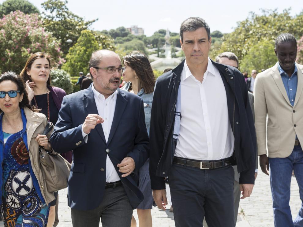 Javier Lambán y Pedro Sánchez, el pasado 19 de junio en Zaragoza.