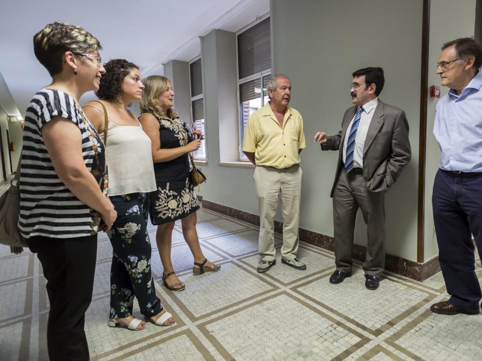 Representantes de los empresarios y la Comarca con el presidente de la CHE en Zaragoza.