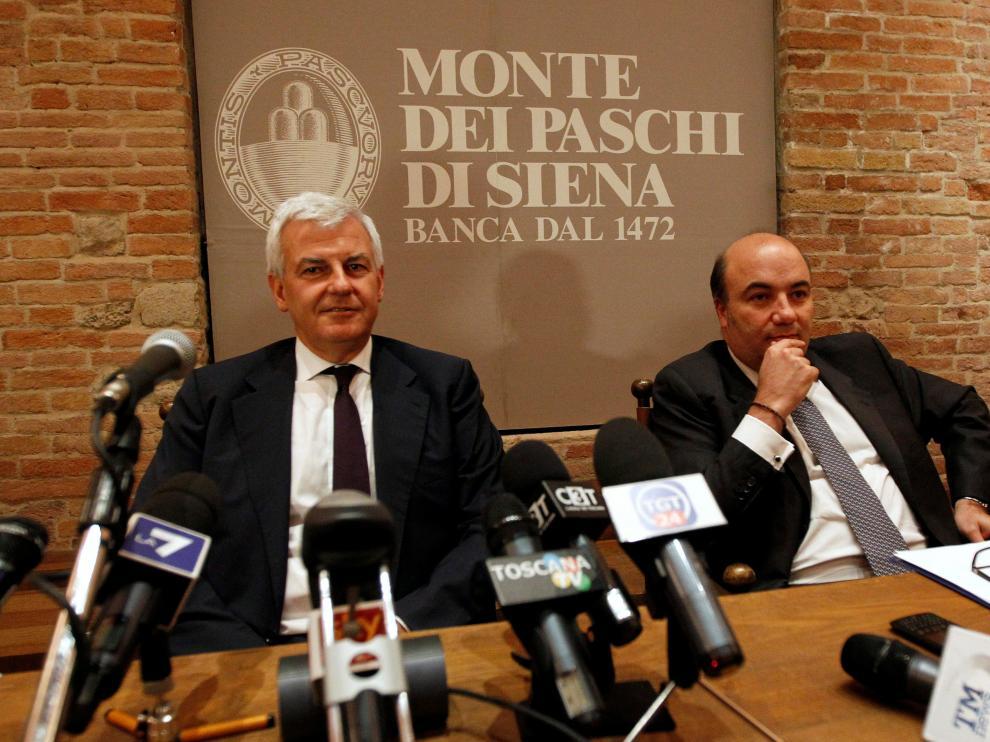Alessandro Profumo y Fabrizio Viola.
