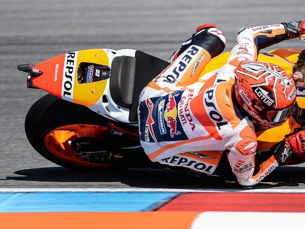 Marc Marquez durante la clasificación para el Gran Premio de la República Checa en el circuito de Brno.