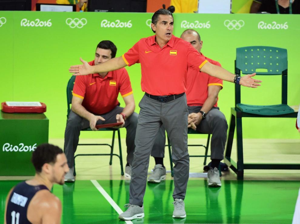 Sergio Scariolo en un momento del partido que España jugó contra Estados Unidos.