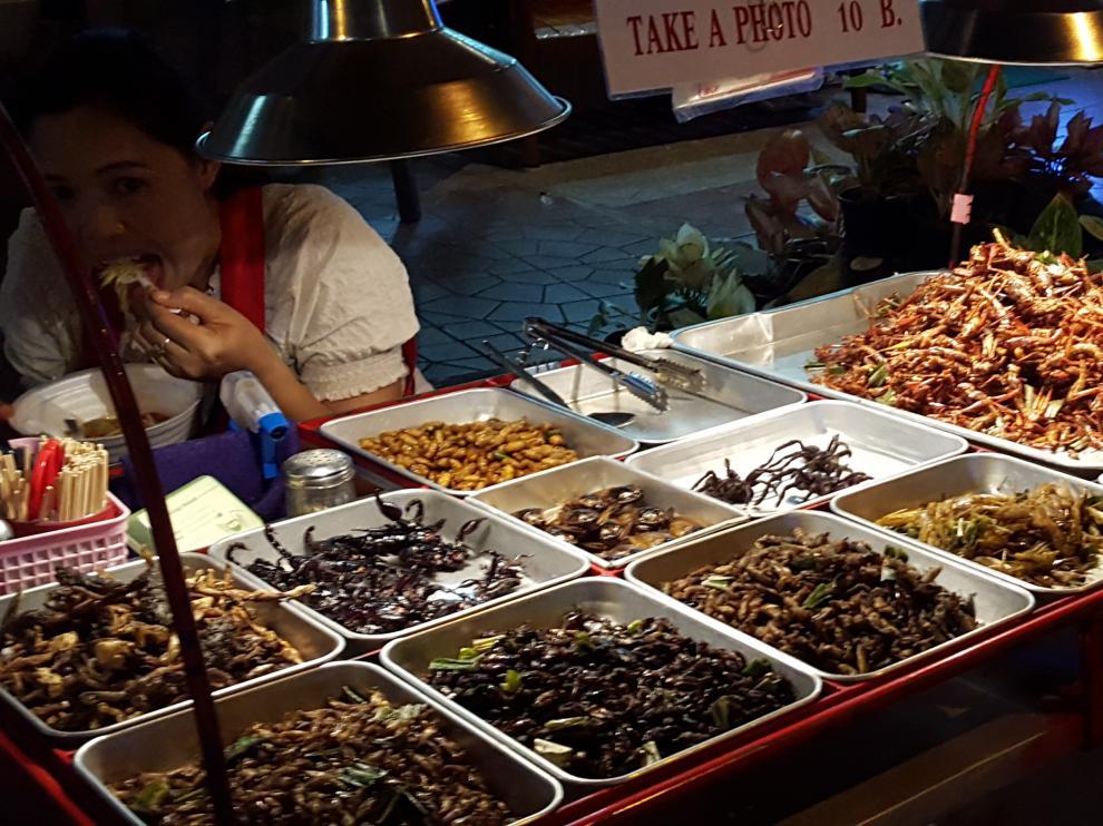 Puesto de venta de insectos en Bangkok.