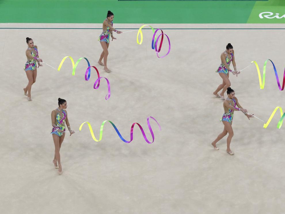 El conjunto español de gimnasia rítmica en la final de los Juegos de Río
