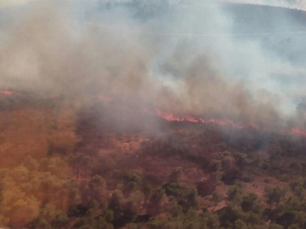 Declarado un incendio entre los términos de Zuera y San Gregorio