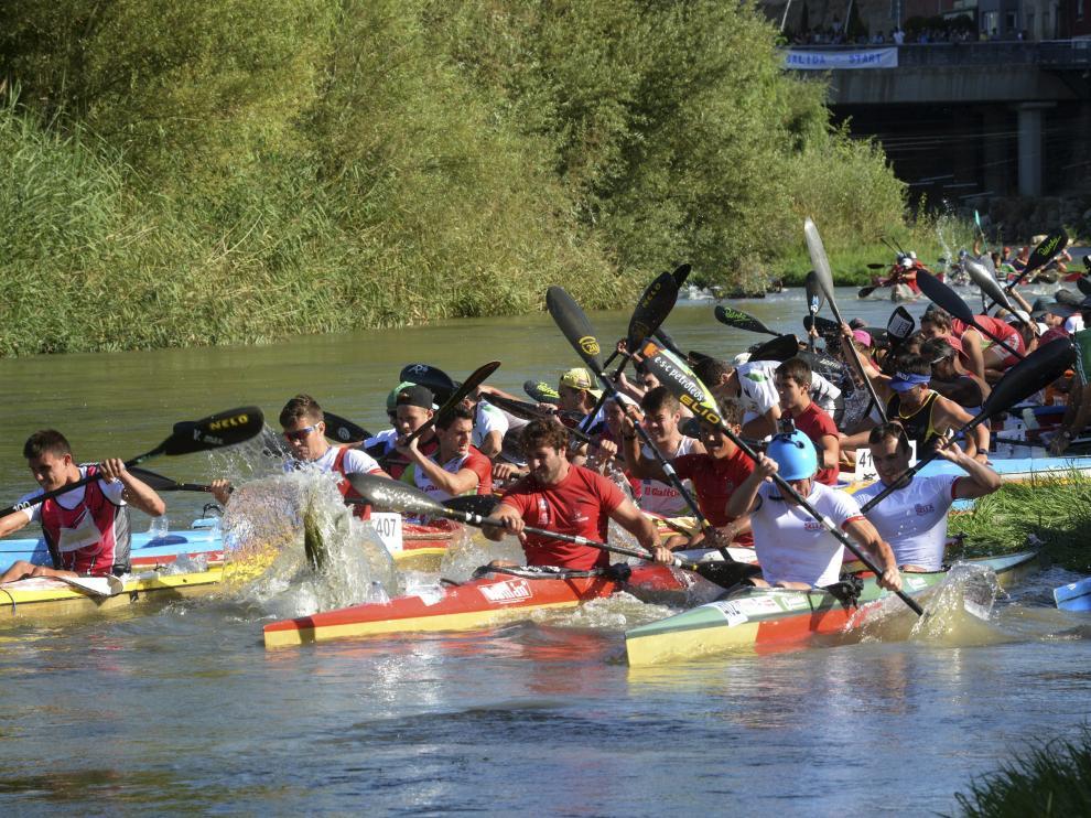 Piraguas en el río Cinca a la altura de Fraga