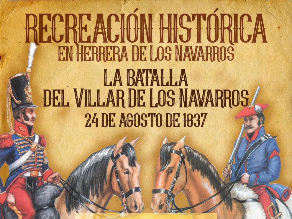 Cartel de los actos en Herrera de los Navarros por la conmemoración de la batalla del Villar.