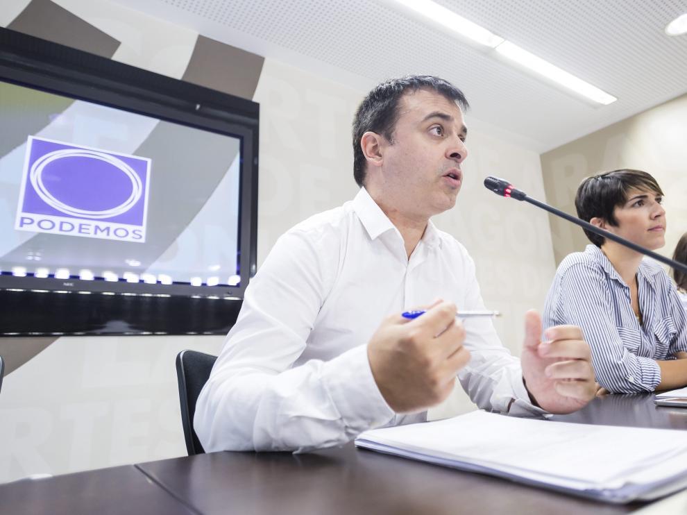 Rueda de prensa de Podemos este martes.