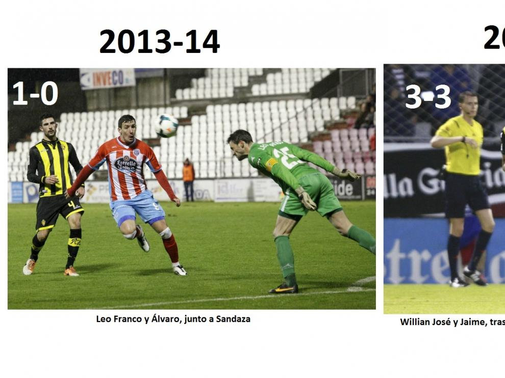 Tres imágenes de los tres partidos precedentes jugados por el Real Zaragoza en Lugo, los únicos en toda su larga historia.