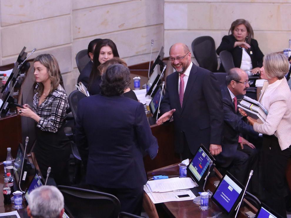 El presidente del Parlamento Europeo, Martin Schulz, visitó el martes el Senado de Colombia para conocer los avances de la negociación.