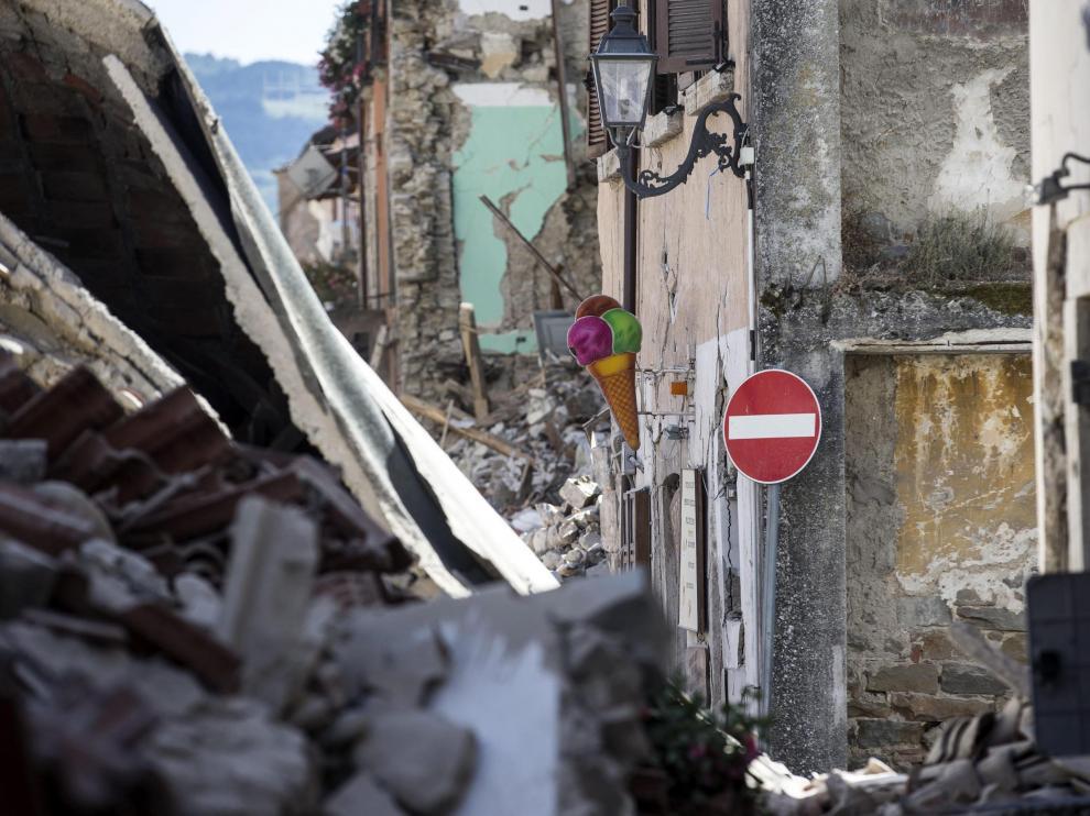 Edificios derrumbados en Amatrice.