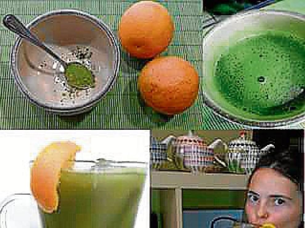 Receta de matcha con zumo de naranja natural
