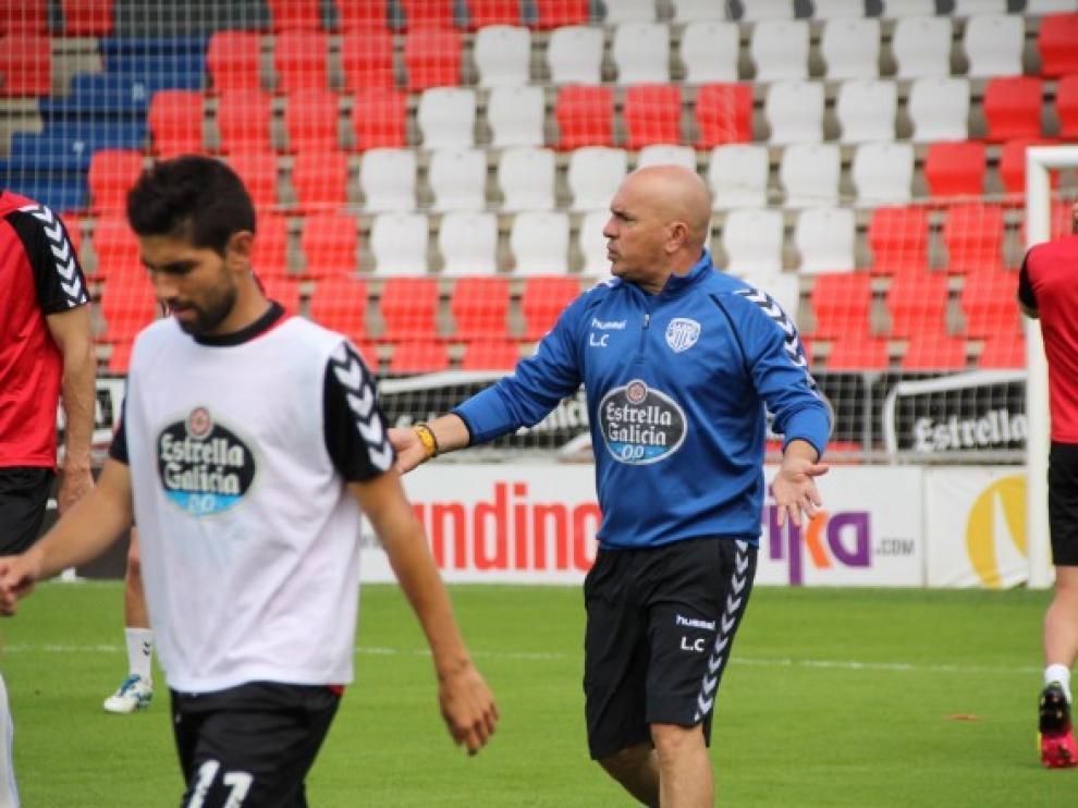 Luis César Sampedro, durante un entrenamiento del Lugo