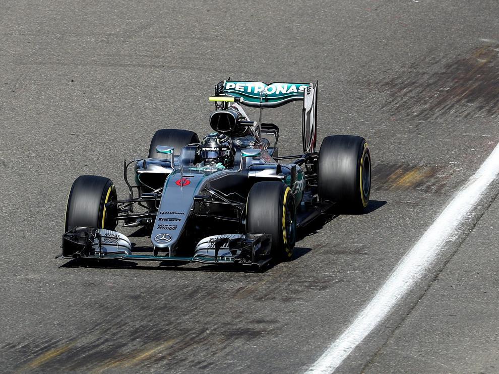 Rosberg en el circuito de Spa.
