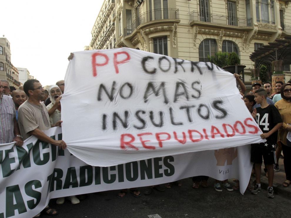 Protesta en Melilla contra la prohibición de entrada de corderos desde Marruecos.