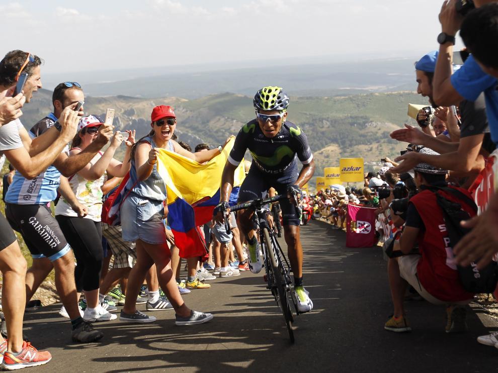 Nairo Quintana en los últimos kilómetros de la etapa de este lunes.