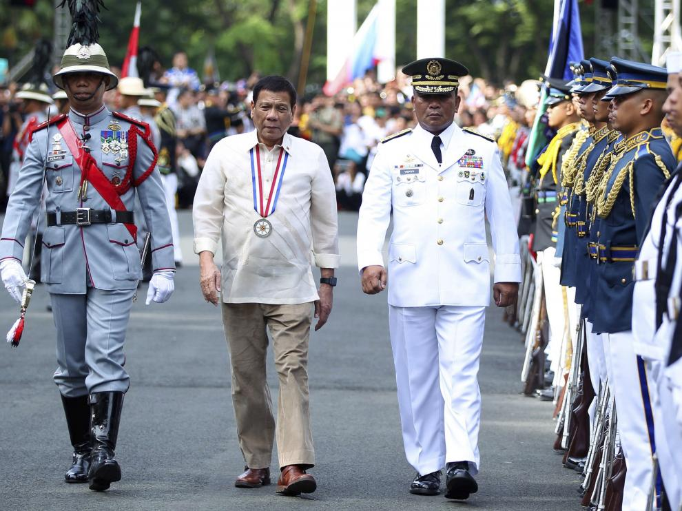El presidente de Filipinas, Rodrigo Duterte, este lunes.