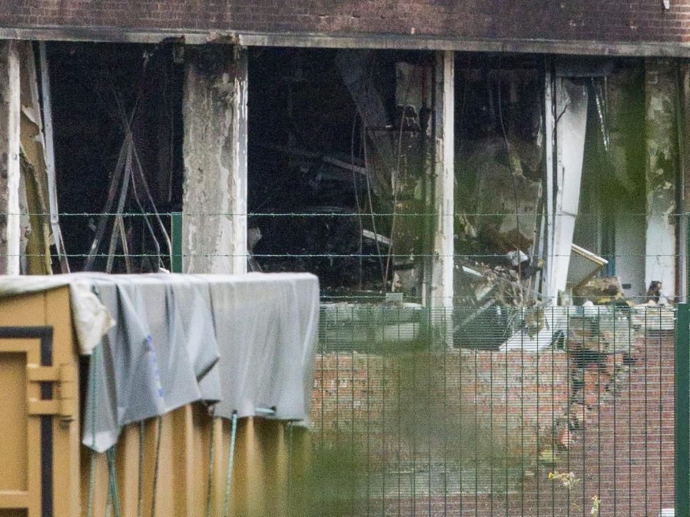 Destrozos causados por la explosión en un instituto de criminología en Bruselas