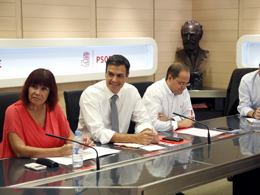 Micaela Navarro, Pedro Sánchez, César Luena y Patxi López durante la reunión de la Ejecutiva Federal del PSOE.