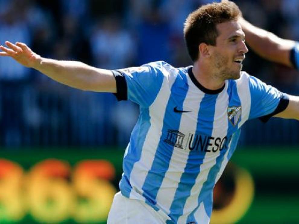 Camacho celebra un gol con el Málaga