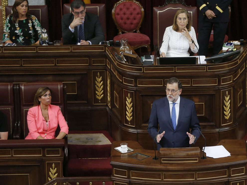 Rajoy, durante la primera jornada de la sesión de investidura