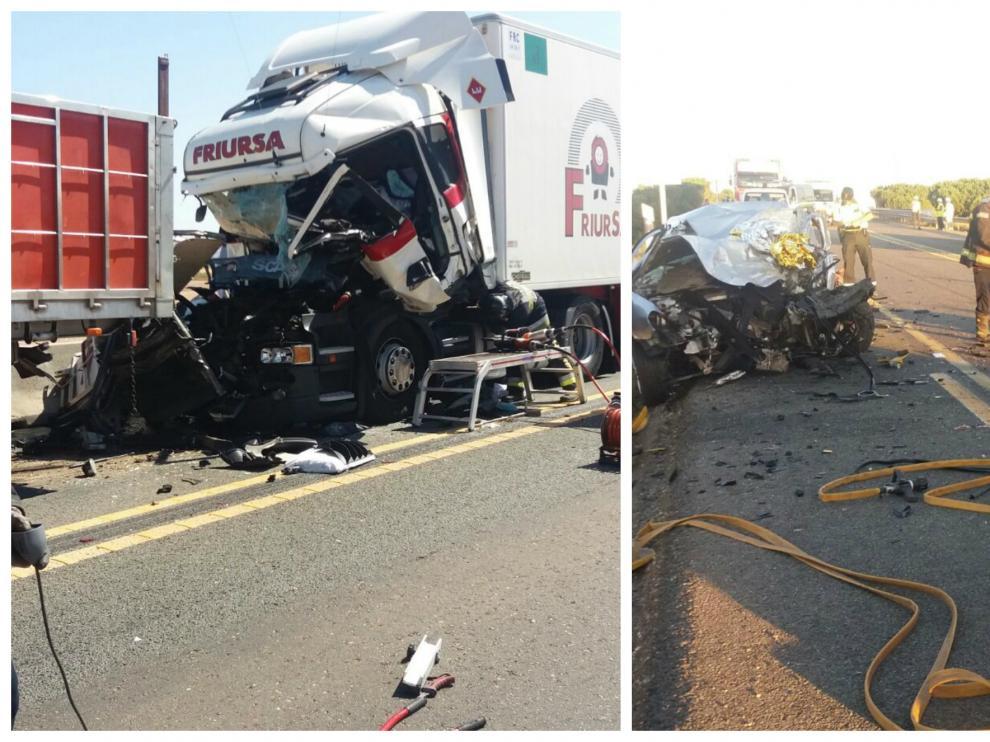 Combo de imágenes de los dos accidentes de este martes en la N-232.