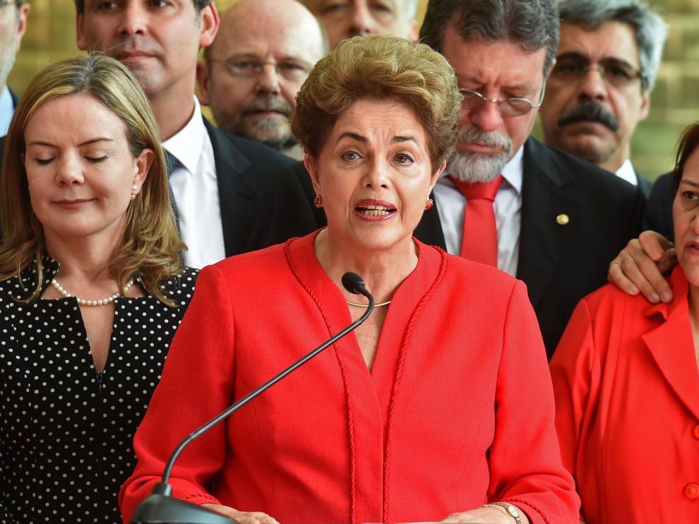 Dilma Rousseff en su último discurso tras su destitución