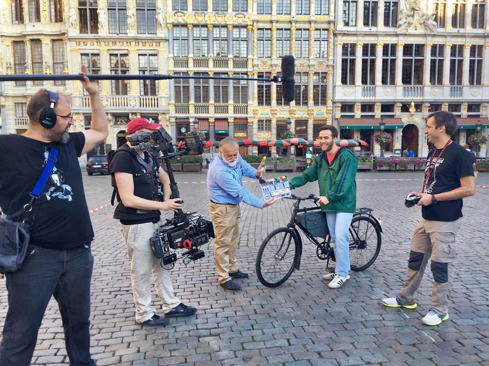 Rodaje este miércoles en el centro de Bruselas.