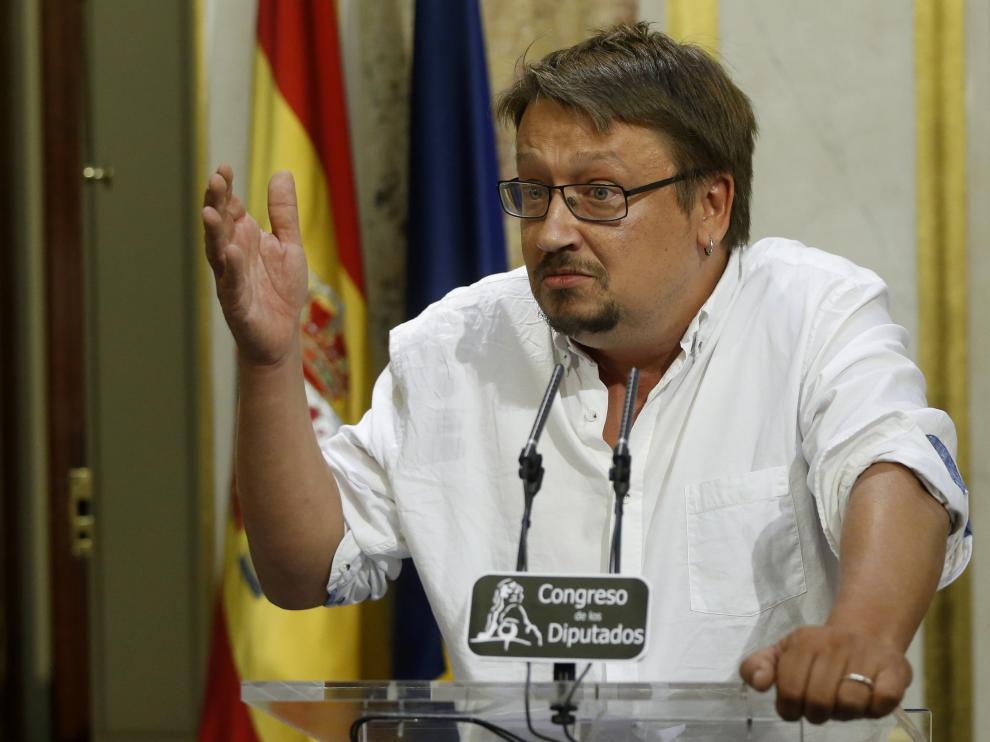 Xavier Doménech durante la segunda sesión del debate de investidura.