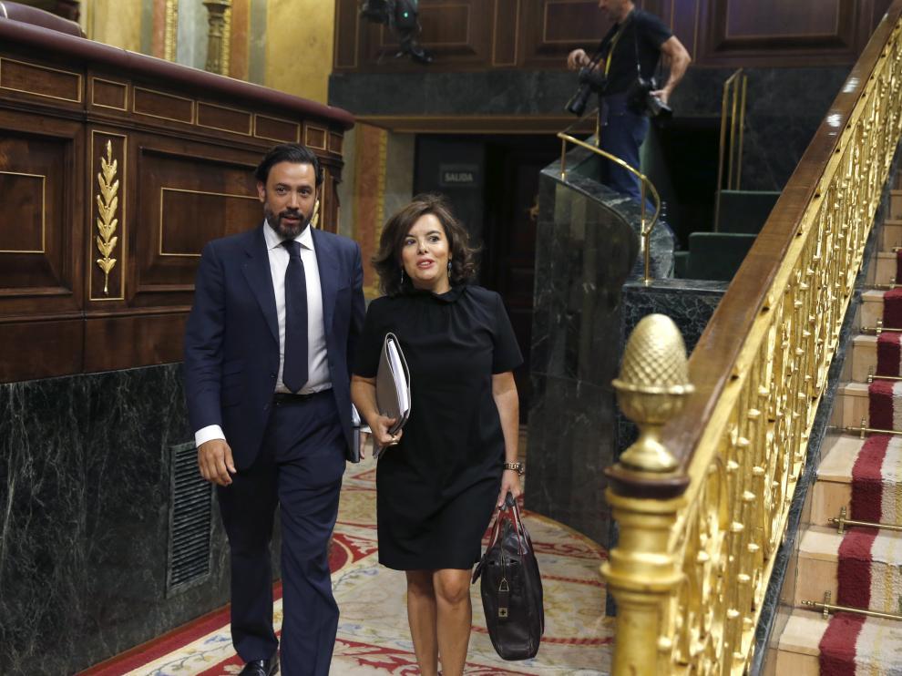 Soraya Sáenz de Santamaría a su llegada al Congreso este miércoles.