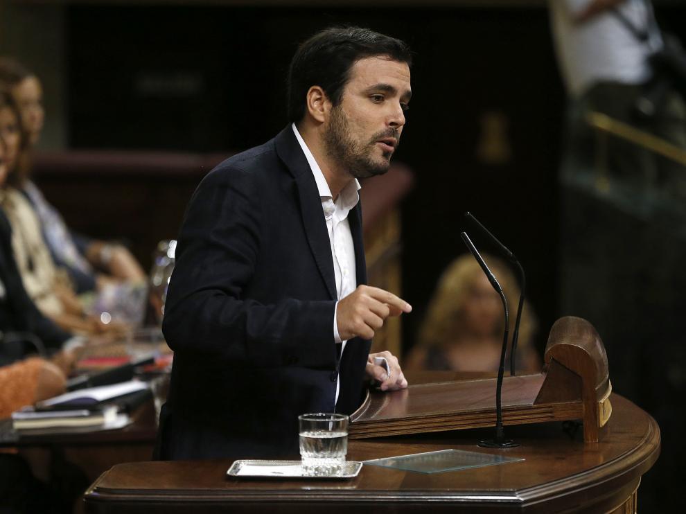 Alberto Garzón durante su intervención en la segunda sesión del debate de investidura.