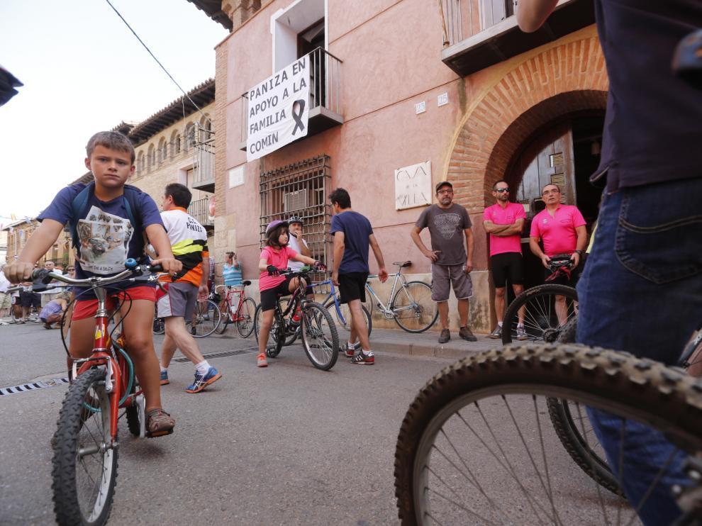Concentración de ciclistas en Paniza.