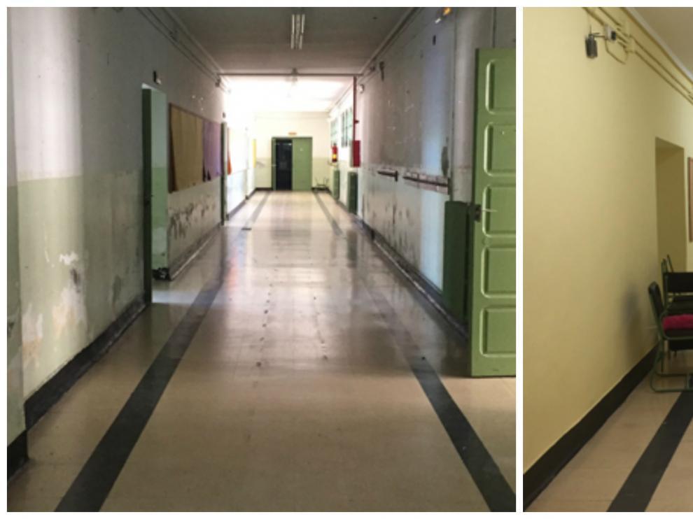 El antes y el después de los pasillos de la planta baja del colegio de Quinto.