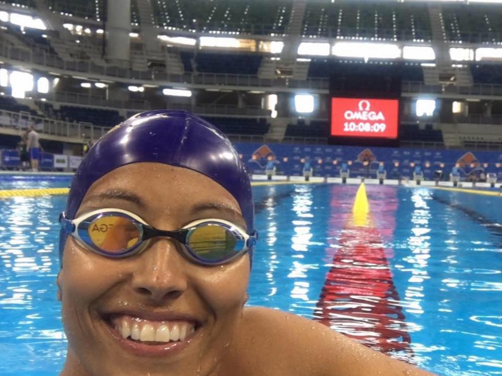 Perales, en la piscina de Río de Janeiro.
