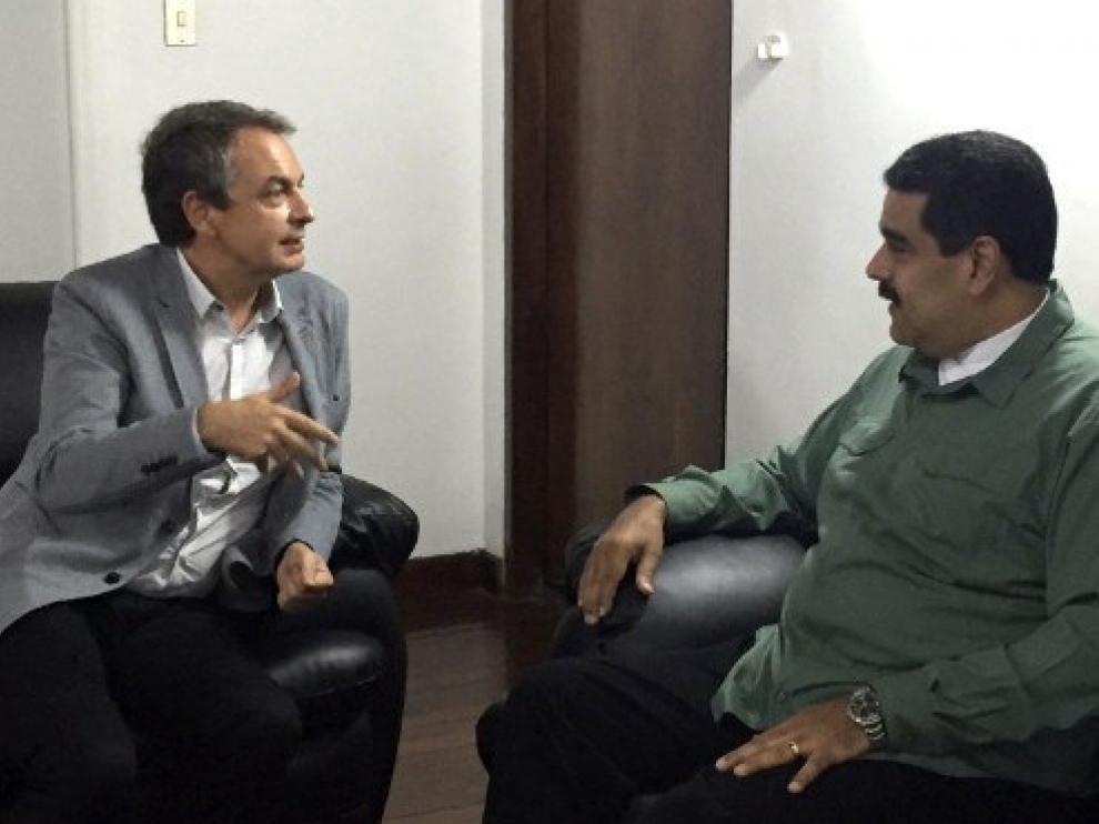 Imagen de la reunión entre José Luis Rodríguez Zapatero y Nicolás Maduro.