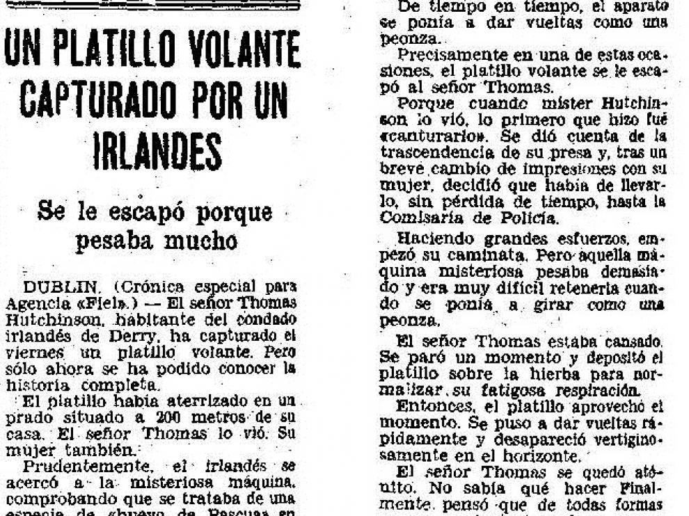 Noticia publicada en HERALDO en 1956 bajo el título 'Un platillo volante capturado por un irlandés'