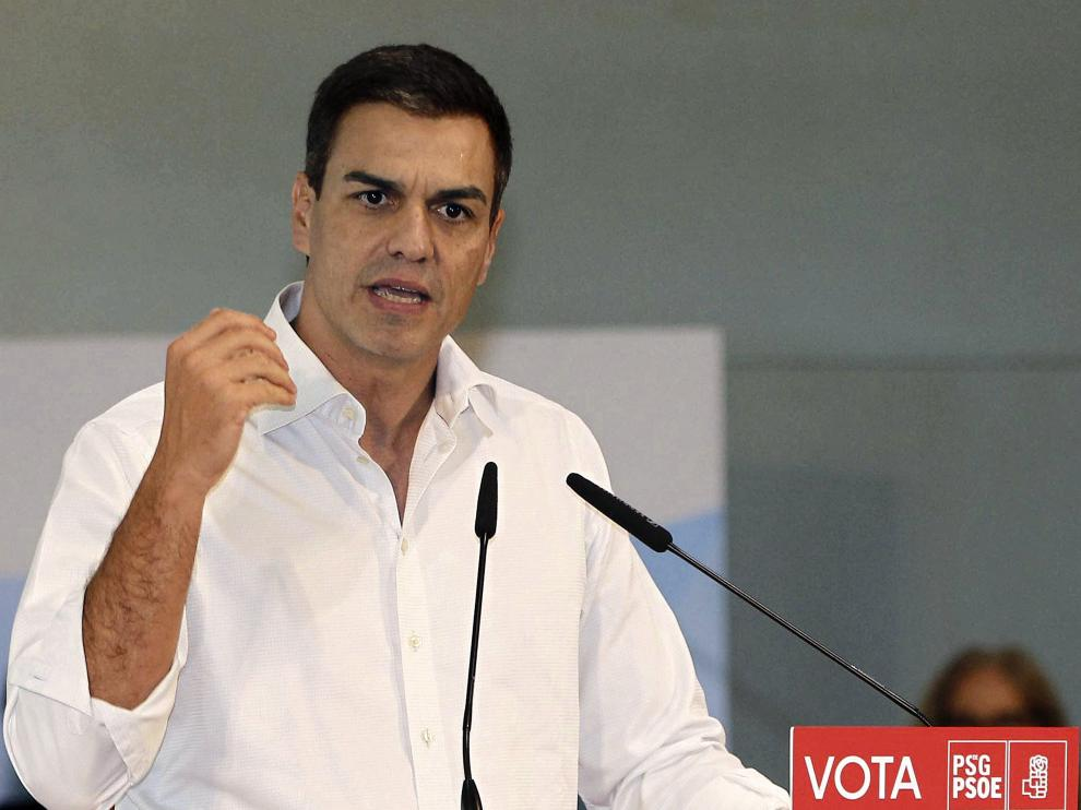 Pedro Sánchez durante un acto en Pontevedra