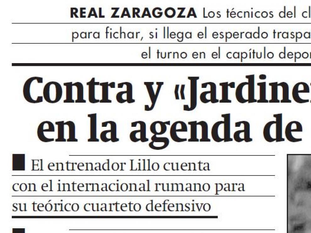 Apertura de página de la información del Real Zaragoza del 12 de julio de 2000.