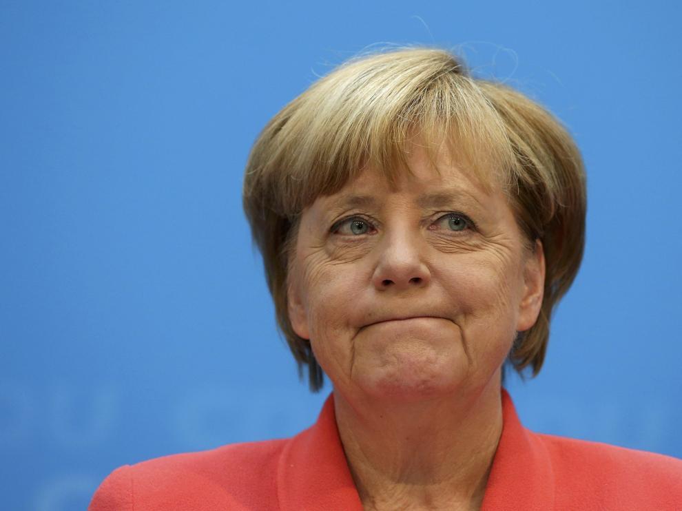 Angela Merkel durante una conferencia este lunes en Berlín.
