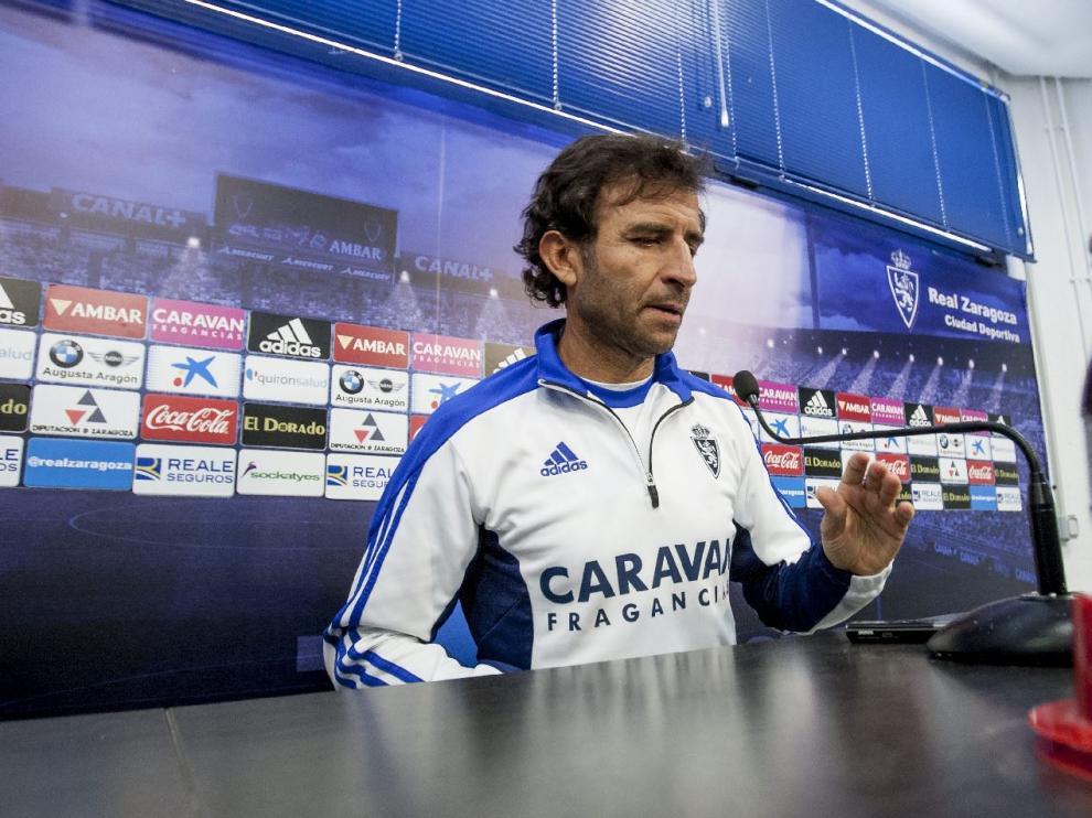 Luis Milla, en la tarde de este lunes, en la sala de prensa de la Ciudad Deportiva.