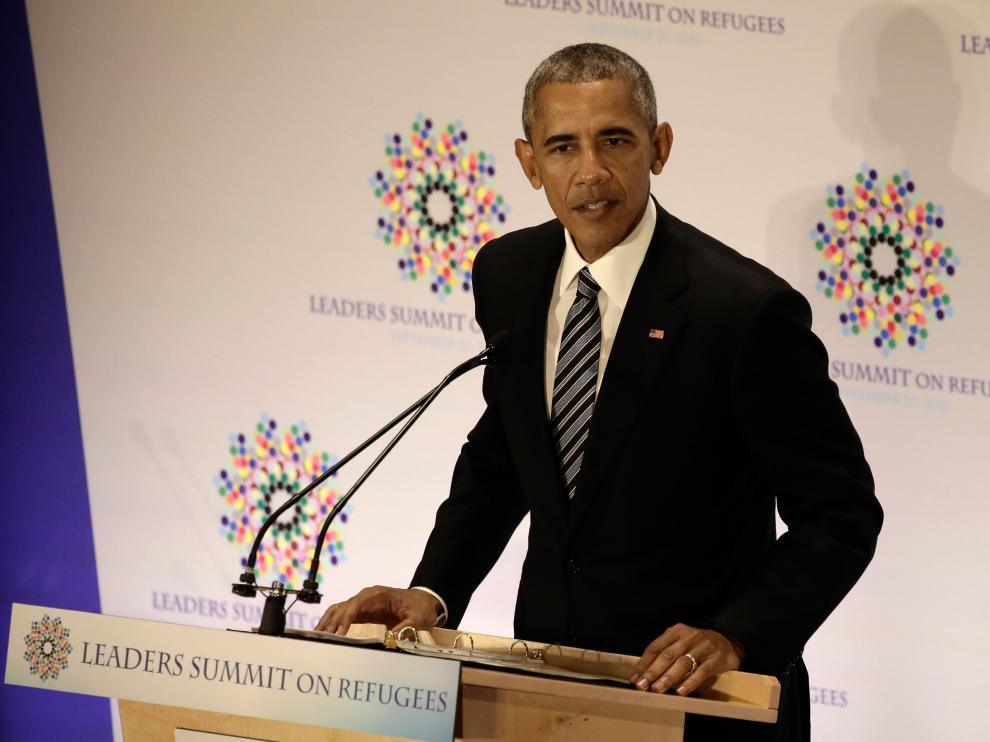 Barack Obama durante la Cumbre de Líderes para los refugiados.
